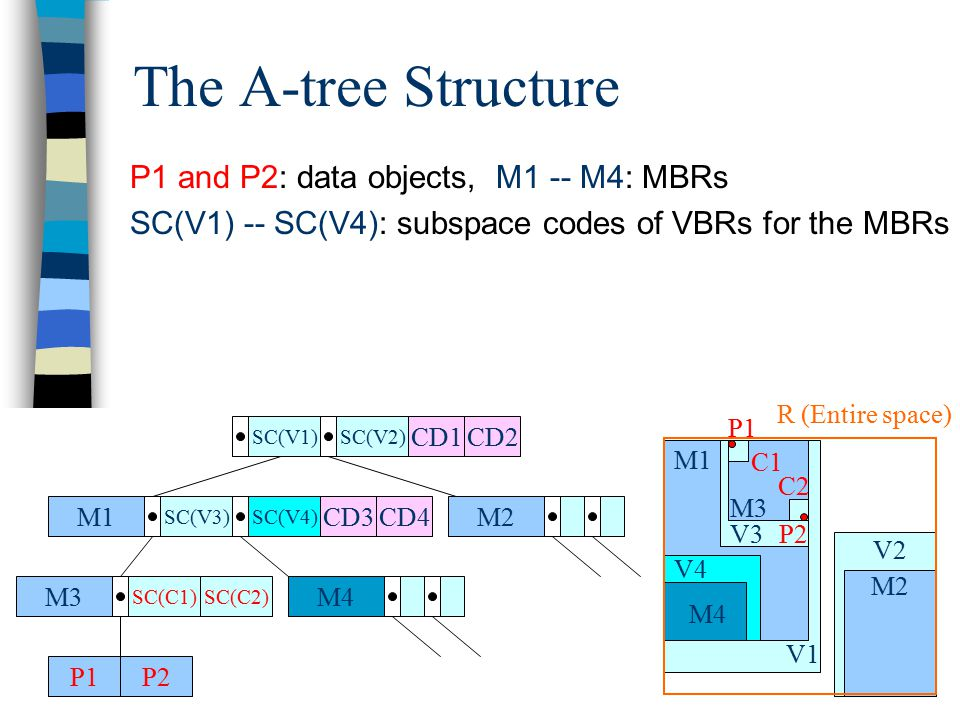 The A-tree Structure P1 and P2: data objects, M1 -- M4: MBRs SC(V1) -- SC(V4): subspace codes of VBRs for the MBRs M1 SC(V3)SC(V4) M2 M4M3 SC(C1) P1P2 SC(V1)SC(V2) SC(C2) CD1CD2 CD3CD4 V2 V1 M1 M2 V4 M4 V3 M3 P2 P1 C1 C2 R (Entire space)