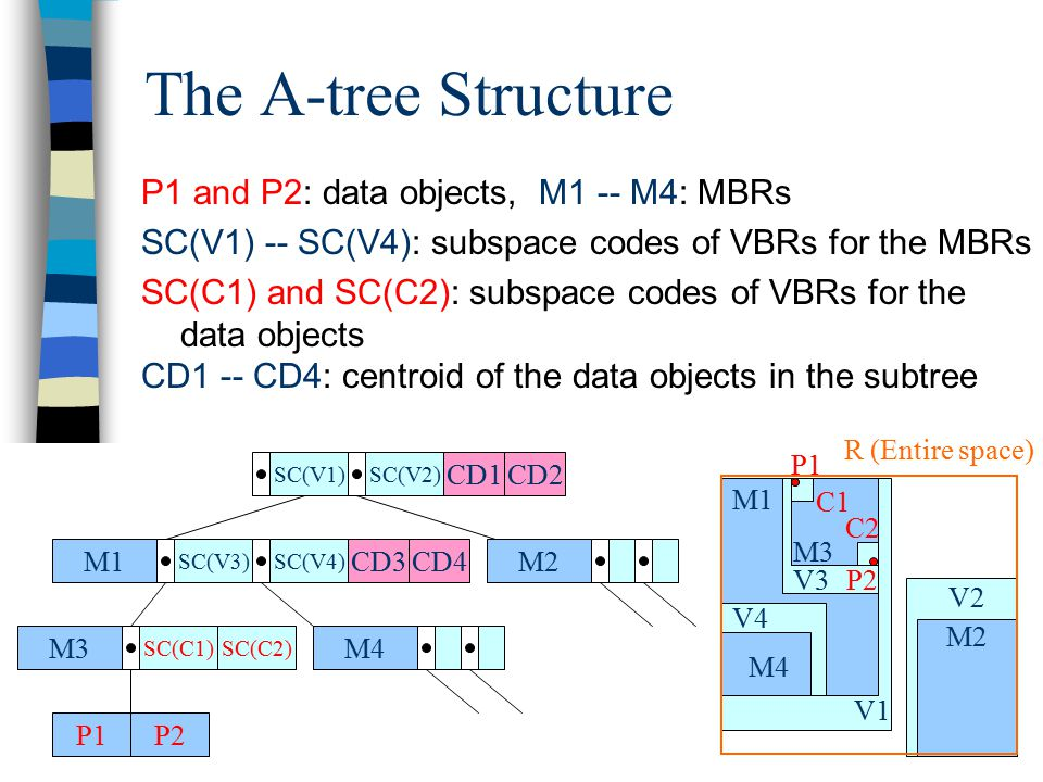 The A-tree Structure P1 and P2: data objects, M1 -- M4: MBRs SC(V1) -- SC(V4): subspace codes of VBRs for the MBRs SC(C1) and SC(C2): subspace codes of VBRs for the data objects CD1 -- CD4: centroid of the data objects in the subtree M1 SC(V3)SC(V4) M2 M4M3 SC(C1) P1P2 SC(V1)SC(V2) SC(C2) CD1CD2 CD3CD4 V2 V1 M1 M2 V4 M4 V3 M3 P2 P1 C1 C2 R (Entire space)