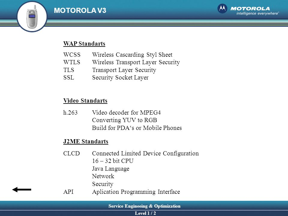 MOTOROLA V3 Service Engineeing & Optimization Level 1 / 2 WCSS Wireless Cascarding Styl Sheet WTLS Wireless Transport Layer Security TLS Transport Lay