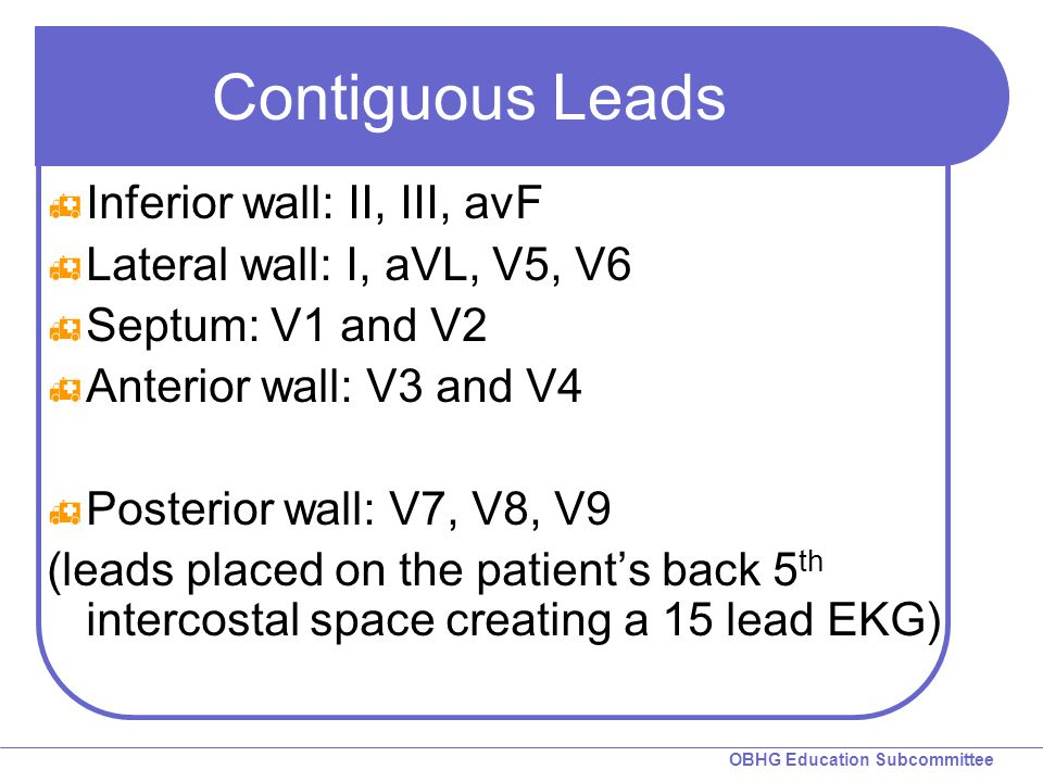 OBHG Education Subcommittee Contiguous Leads  Inferior wall: II, III, avF  Lateral wall: I, aVL, V5, V6  Septum: V1 and V2  Anterior wall: V3 and