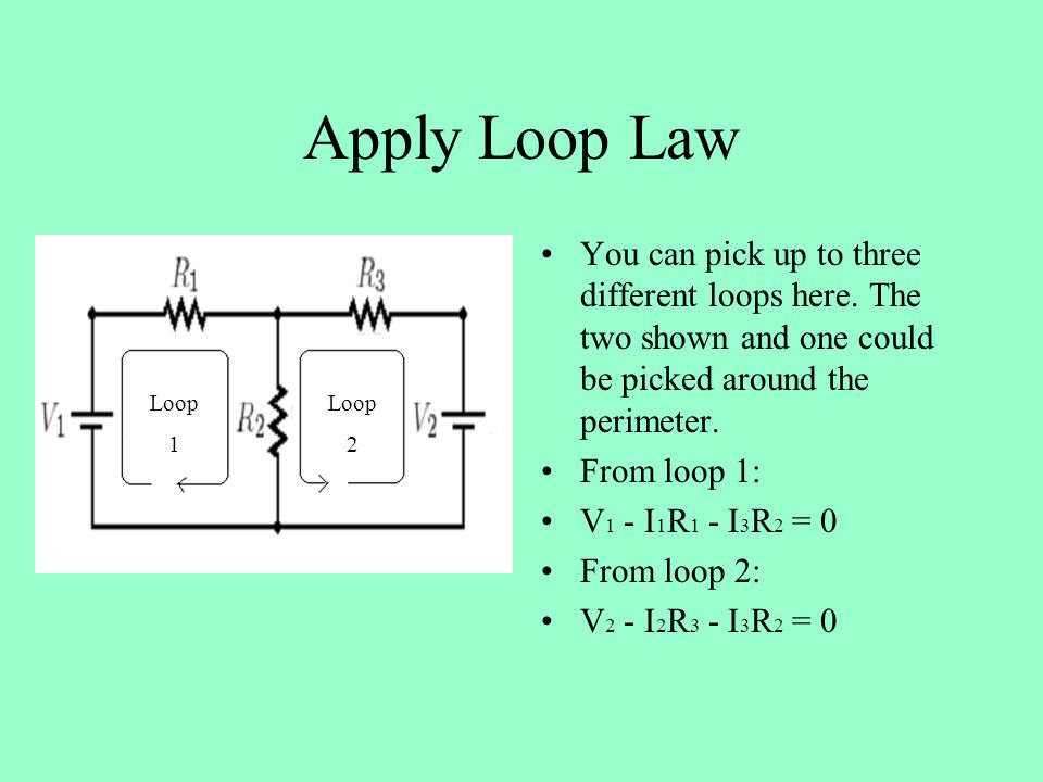 Apply Loop Law You can pick up to three different loops here.