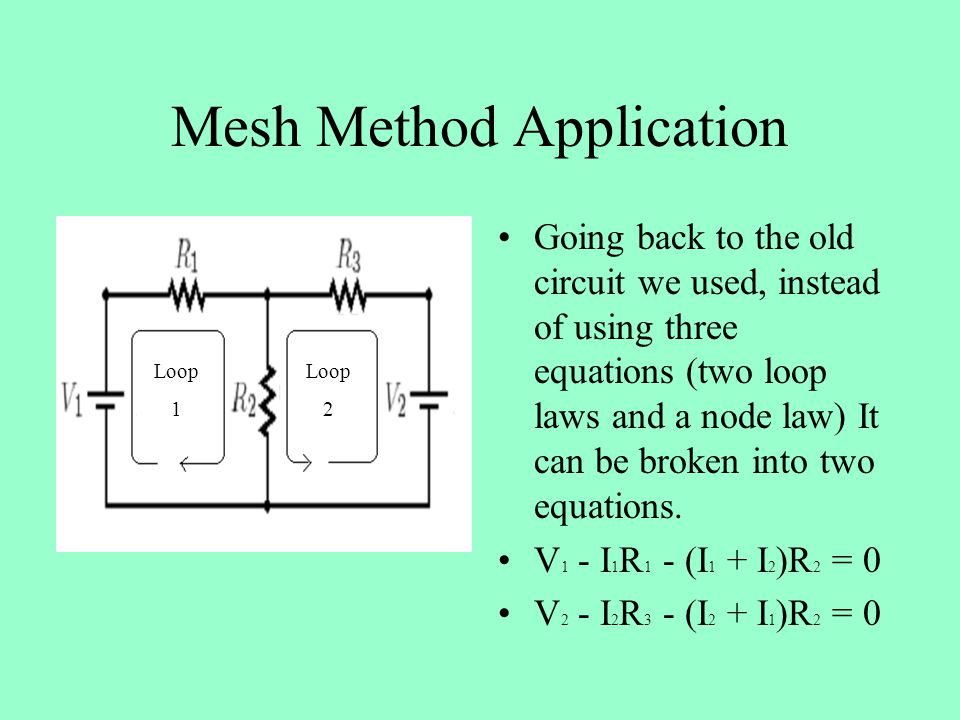 Mesh Method Application Going back to the old circuit we used, instead of using three equations (two loop laws and a node law) It can be broken into two equations.