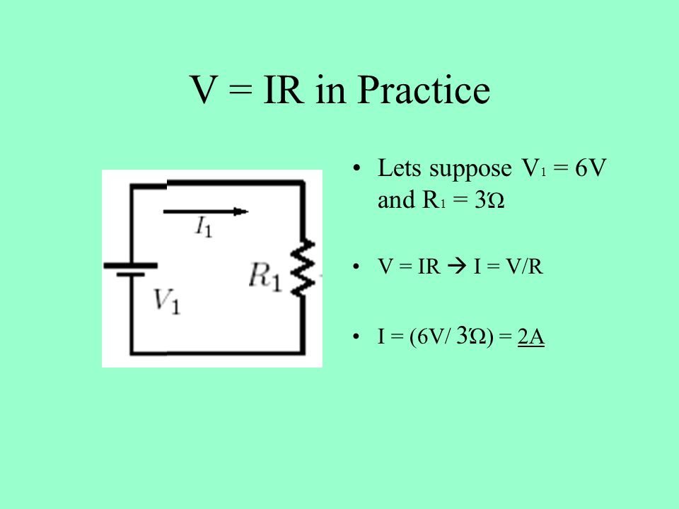 V = IR in Practice Lets suppose V 1 = 6V and R 1 = 3 Ώ V = IR  I = V/R I = (6V/ 3 Ώ) = 2A