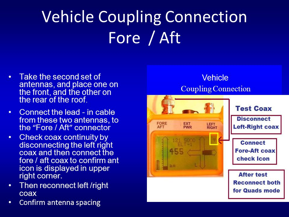 Vehicle Coupling Connection Fore / Aft Take the second set of antennas, and place one on the front, and the other on the rear of the roof. Vehicle Cou