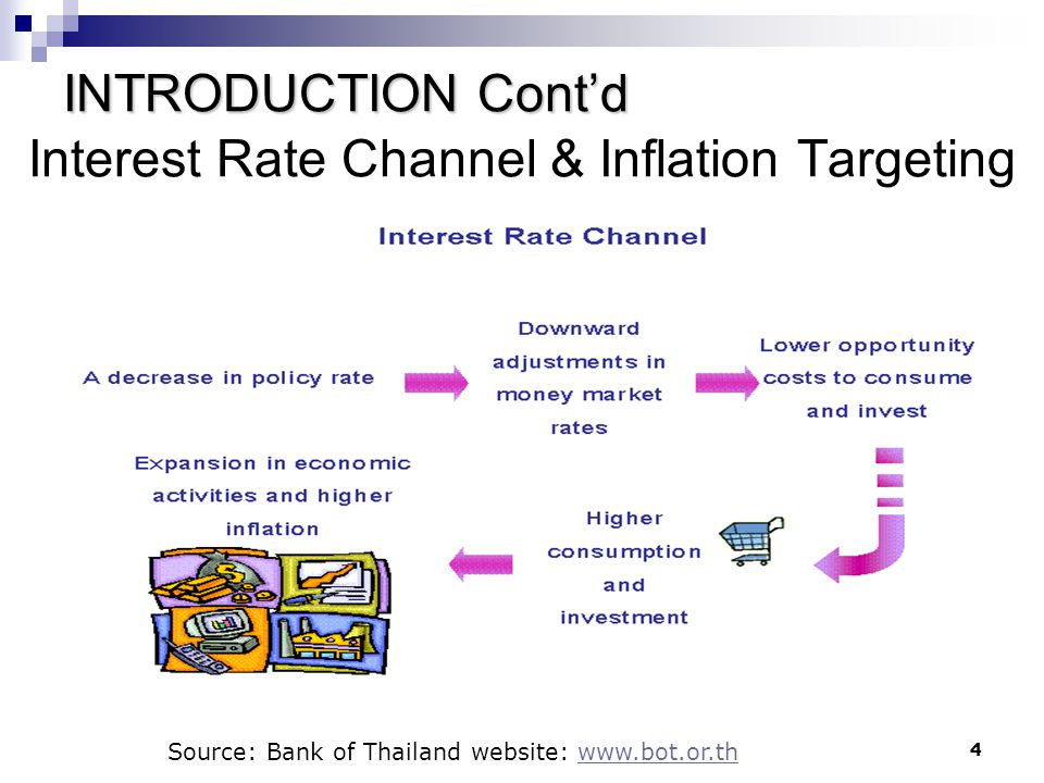 4 Interest Rate Channel & Inflation Targeting Source: Bank of Thailand website: www.bot.or.thwww.bot.or.th INTRODUCTION Cont'd