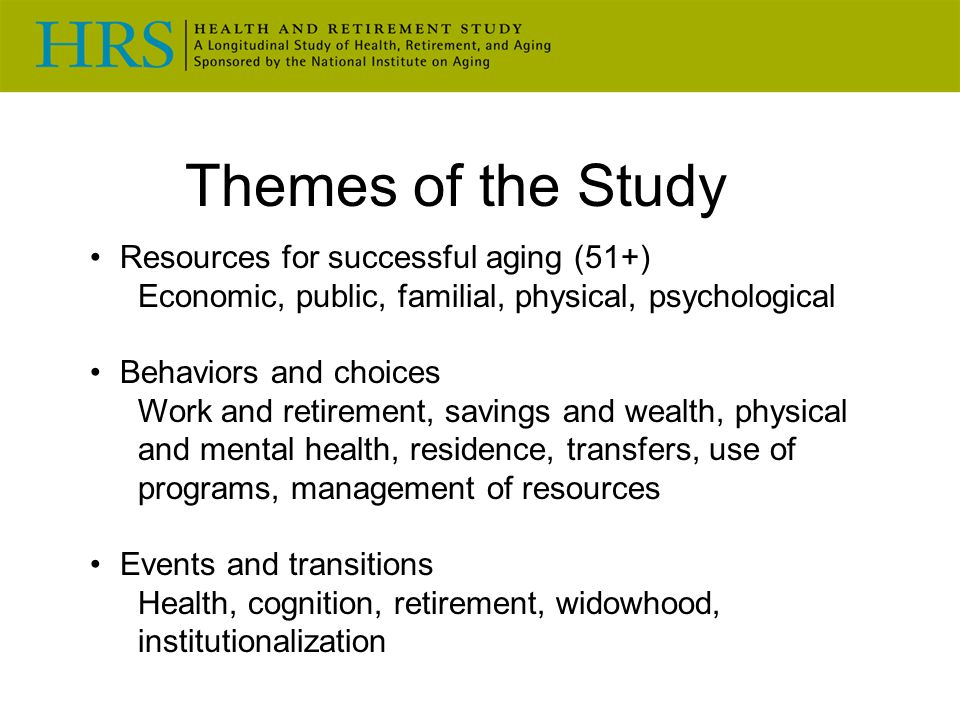 Themes of the Study Resources for successful aging (51+) Economic, public, familial, physical, psychological Behaviors and choices Work and retirement, savings and wealth, physical and mental health, residence, transfers, use of programs, management of resources Events and transitions Health, cognition, retirement, widowhood, institutionalization