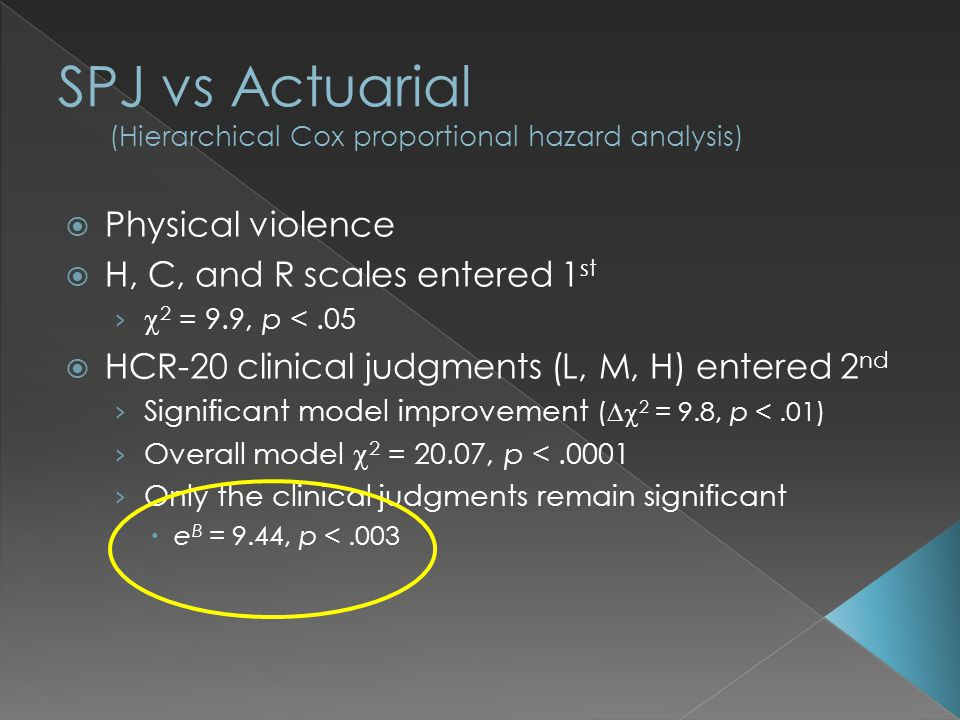  Physical violence  H, C, and R scales entered 1 st ›  2 = 9.9, p <.05  HCR-20 clinical judgments (L, M, H) entered 2 nd › Significant model improvement (  2 = 9.8, p <.01) › Overall model  2 = 20.07, p <.0001 › Only the clinical judgments remain significant  e B = 9.44, p <.003