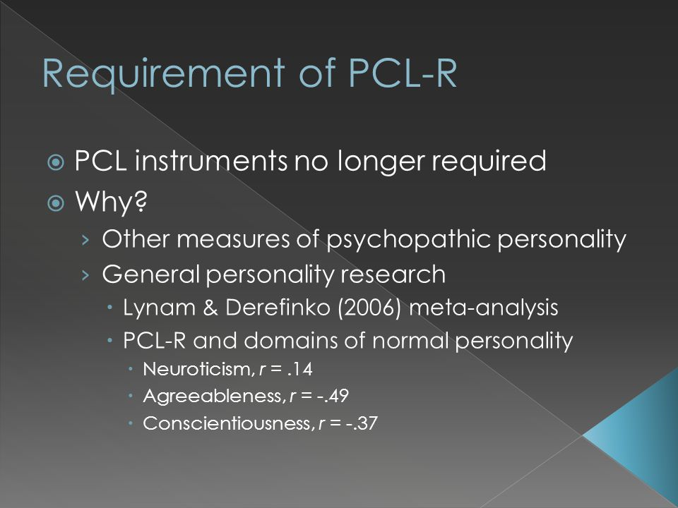  PCL instruments no longer required  Why.