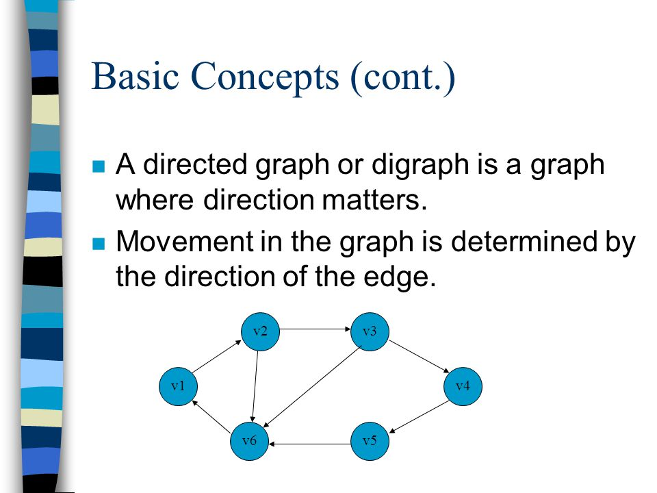 Basic Concepts (cont.) n A directed graph or digraph is a graph where direction matters. n Movement in the graph is determined by the direction of the