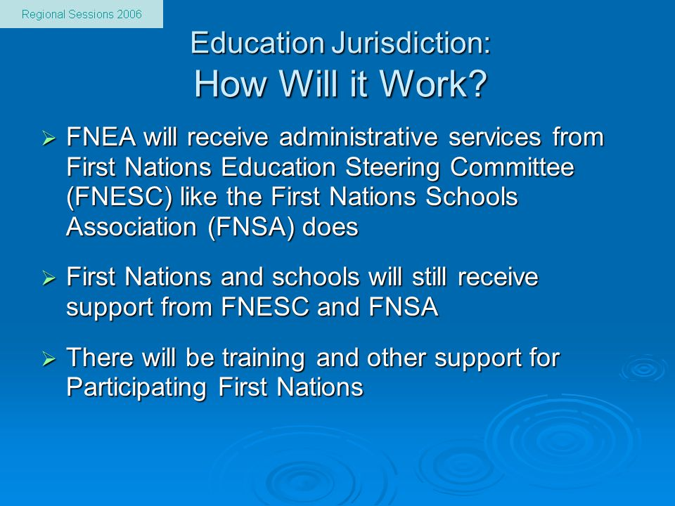 Education Jurisdiction: How Will it Work.