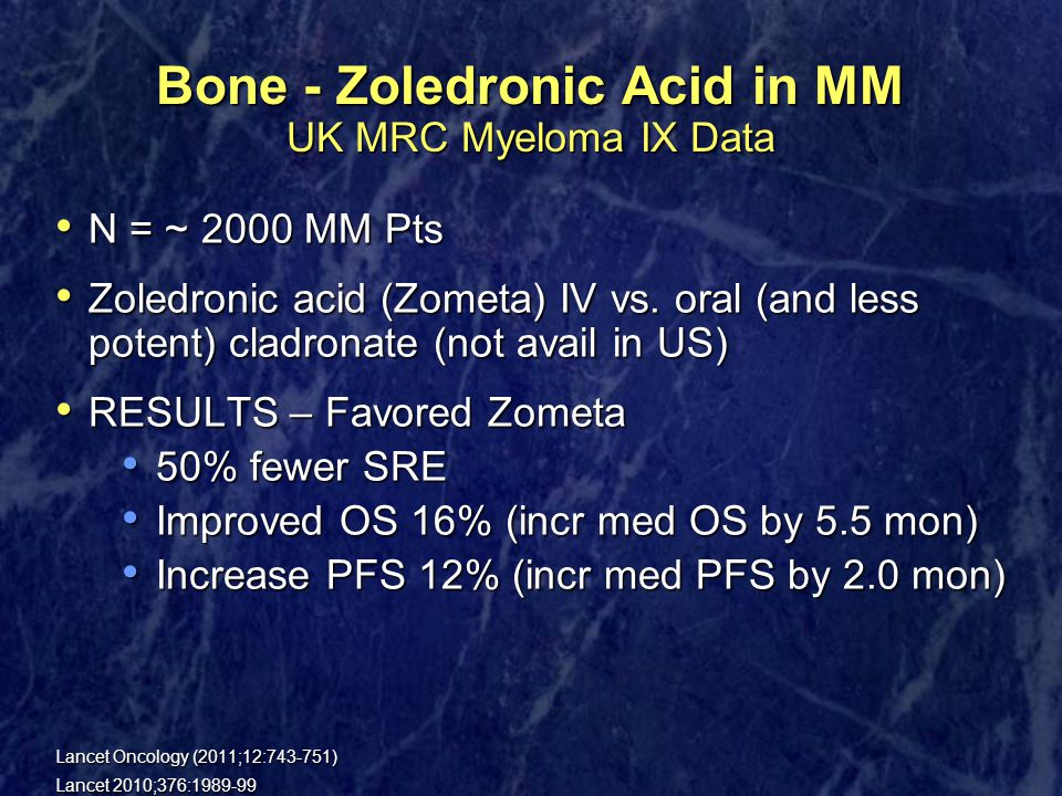 Bone - Zoledronic Acid in MM UK MRC Myeloma IX Data N = ~ 2000 MM Pts N = ~ 2000 MM Pts Zoledronic acid (Zometa) IV vs.