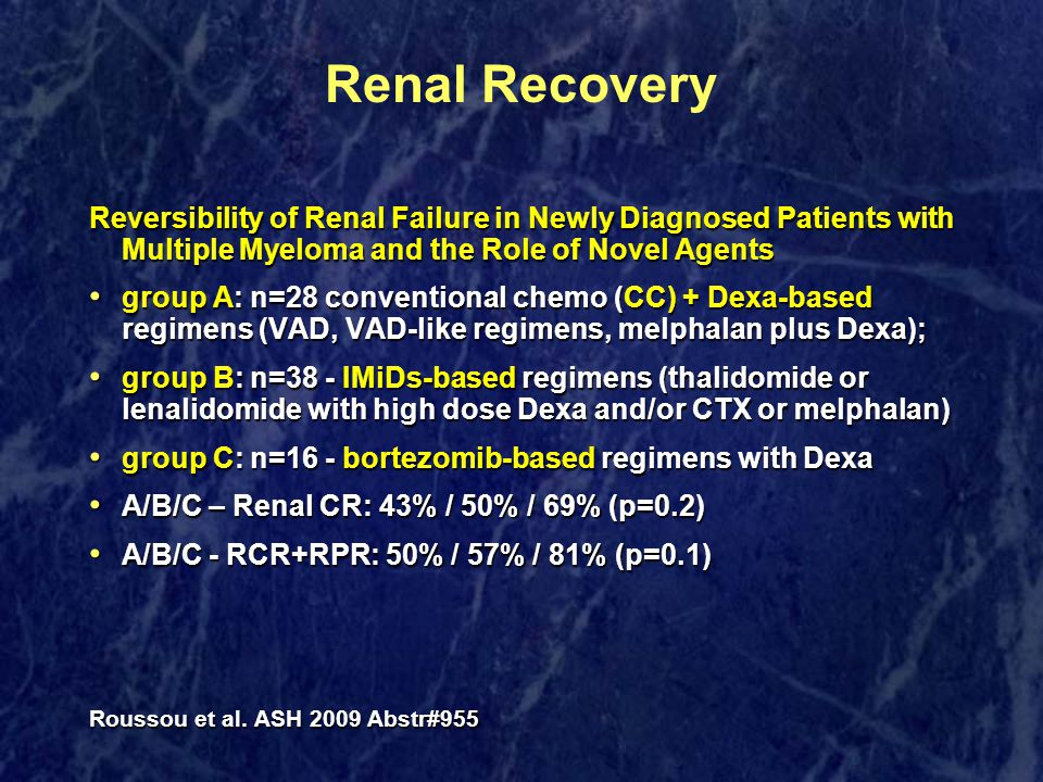 Renal Recovery Reversibility of Renal Failure in Newly Diagnosed Patients with Multiple Myeloma and the Role of Novel Agents group A: n=28 conventiona