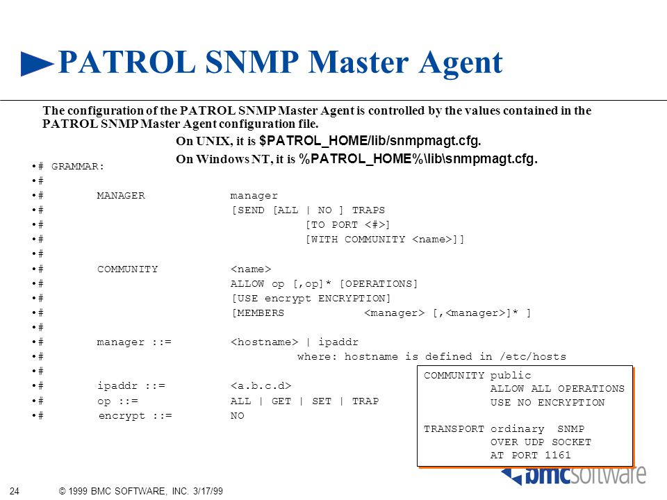 24 © 1999 BMC SOFTWARE, INC. 3/17/99 PATROL SNMP Master Agent The configuration of the PATROL SNMP Master Agent is controlled by the values contained