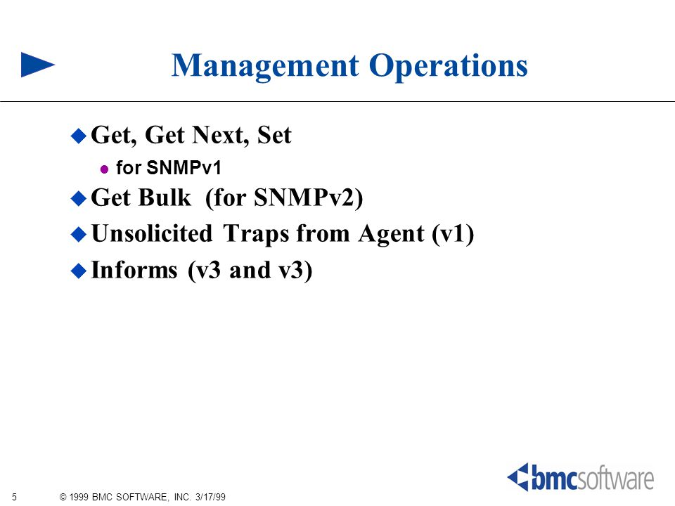 5 © 1999 BMC SOFTWARE, INC. 3/17/99 Management Operations  Get, Get Next, Set for SNMPv1  Get Bulk (for SNMPv2)  Unsolicited Traps from Agent (v1)