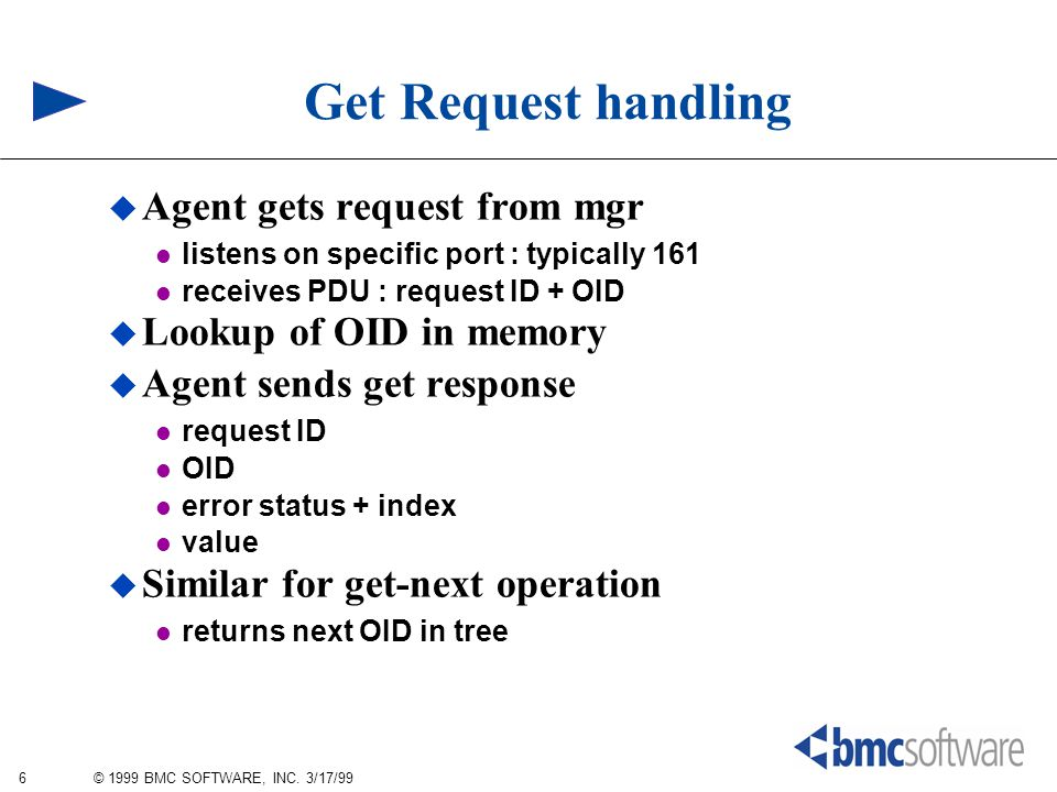 6 © 1999 BMC SOFTWARE, INC. 3/17/99 Get Request handling  Agent gets request from mgr listens on specific port : typically 161 receives PDU : request