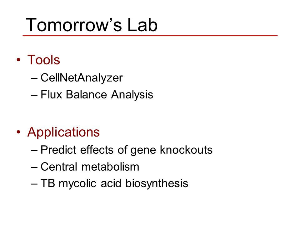 Tomorrow's Lab Tools –CellNetAnalyzer –Flux Balance Analysis Applications –Predict effects of gene knockouts –Central metabolism –TB mycolic acid biosynthesis