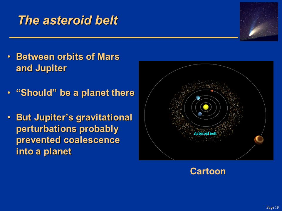 """Page 19 The asteroid belt Between orbits of Mars and JupiterBetween orbits of Mars and Jupiter """"Should"""" be a planet there""""Should"""" be a planet there Bu"""