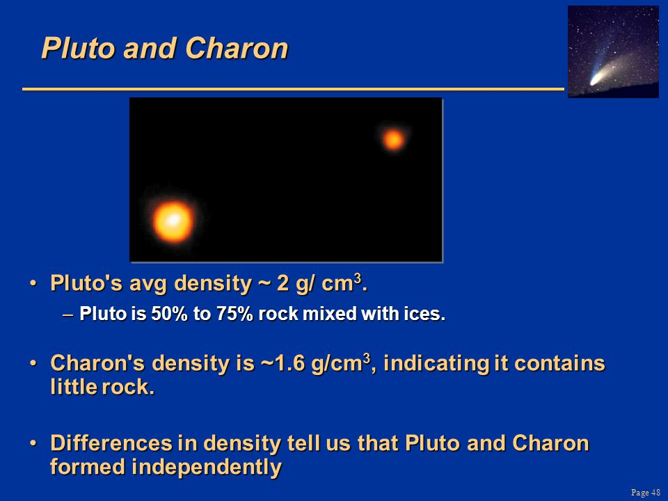 Page 48 Pluto and Charon Pluto's avg density ~ 2 g/ cm 3.Pluto's avg density ~ 2 g/ cm 3. –Pluto is 50% to 75% rock mixed with ices. Charon's density