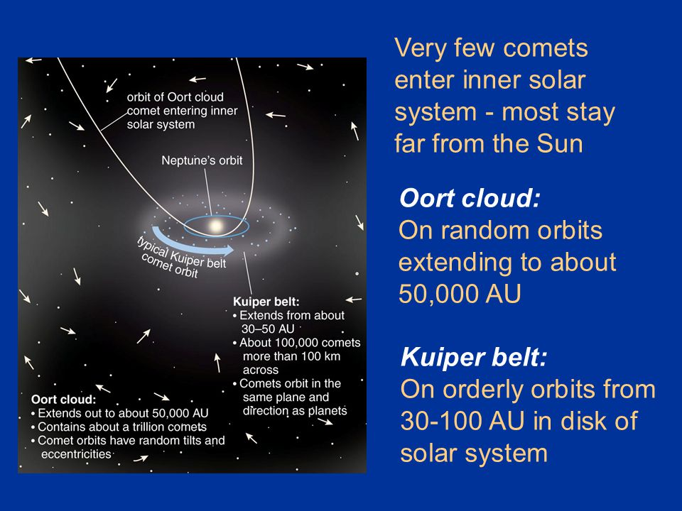 Kuiper belt: On orderly orbits from 30-100 AU in disk of solar system Oort cloud: On random orbits extending to about 50,000 AU Very few comets enter