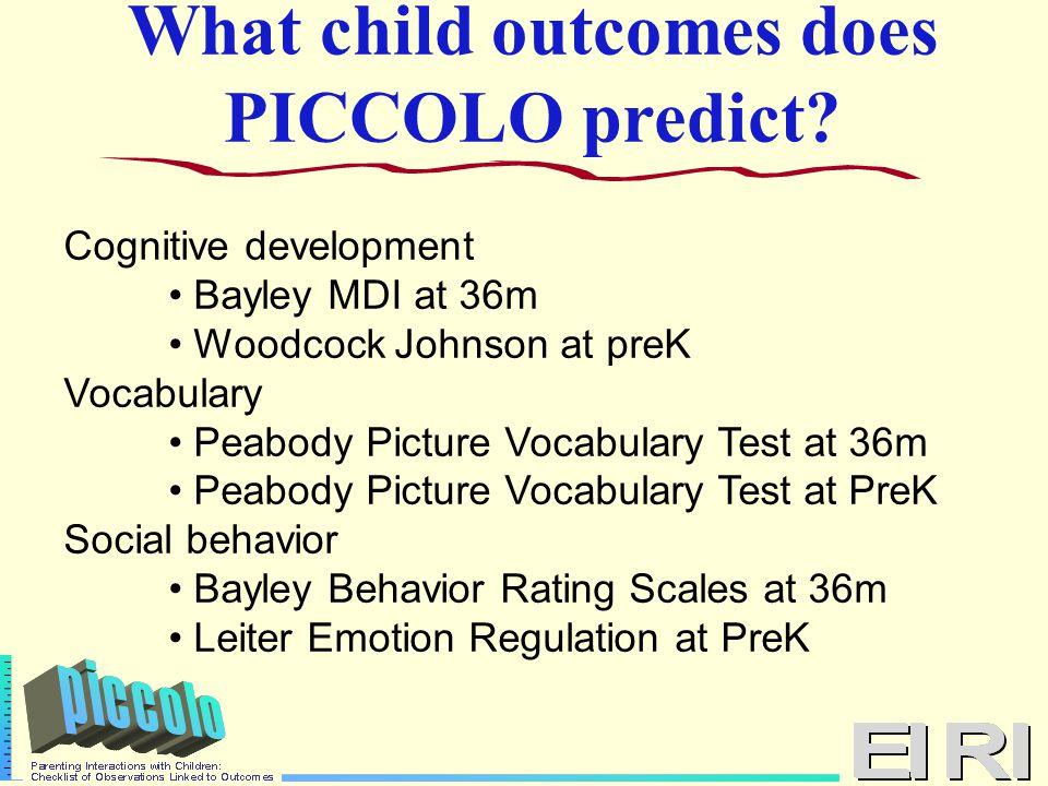 What child outcomes does PICCOLO predict.