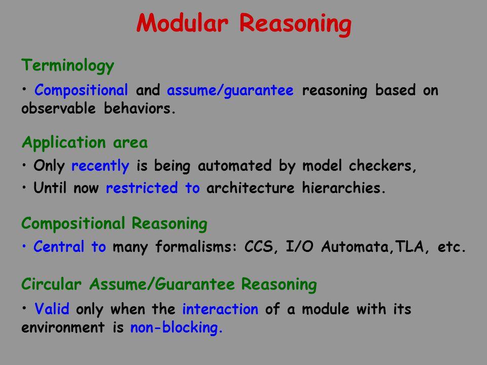 Modular Reasoning Compositional Reasoning Central to many formalisms: CCS, I/O Automata,TLA, etc.