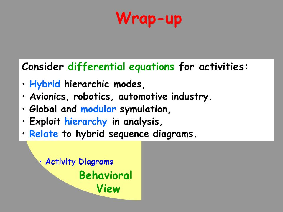 Wrap-up Behavioral View Activity Diagrams Consider differential equations for activities: Hybrid hierarchic modes, Avionics, robotics, automotive indu