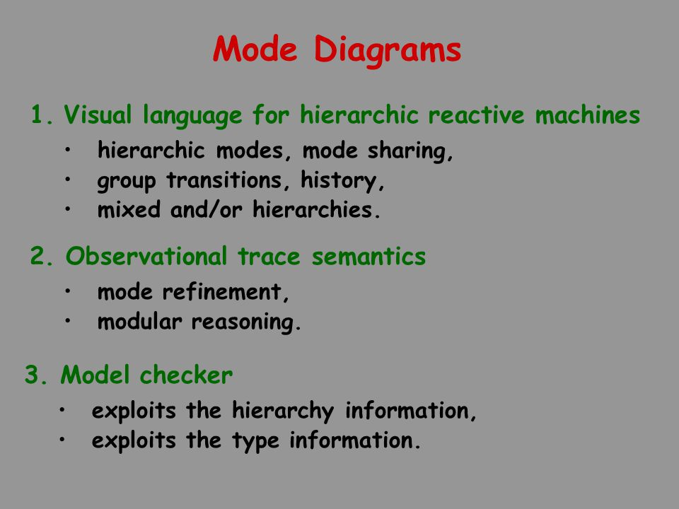 Mode Diagrams 1.Visual language for hierarchic reactive machines hierarchic modes, mode sharing, group transitions, history, mixed and/or hierarchies.