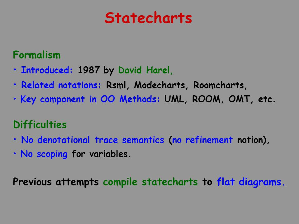 Statecharts Formalism Introduced: 1987 by David Harel, Related notations: Rsml, Modecharts, Roomcharts, Key component in OO Methods: UML, ROOM, OMT, e