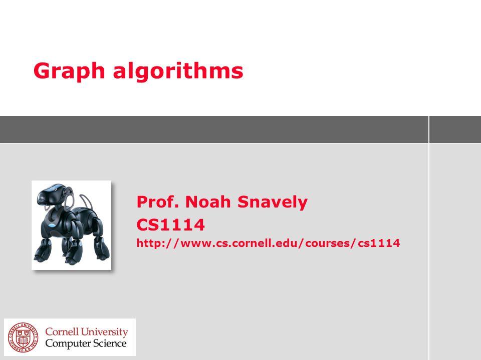 Graph algorithms Prof. Noah Snavely CS1114 http://www.cs.cornell.edu/courses/cs1114
