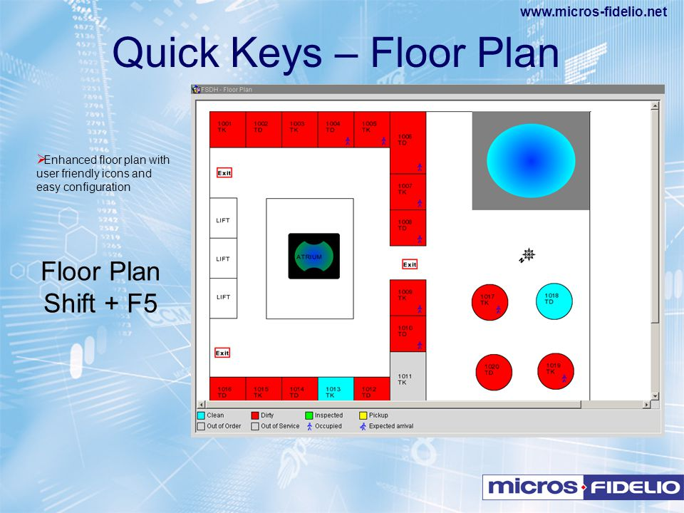 www.micros-fidelio.net  Enhanced floor plan with user friendly icons and easy configuration Quick Keys – Floor Plan Floor Plan Shift + F5