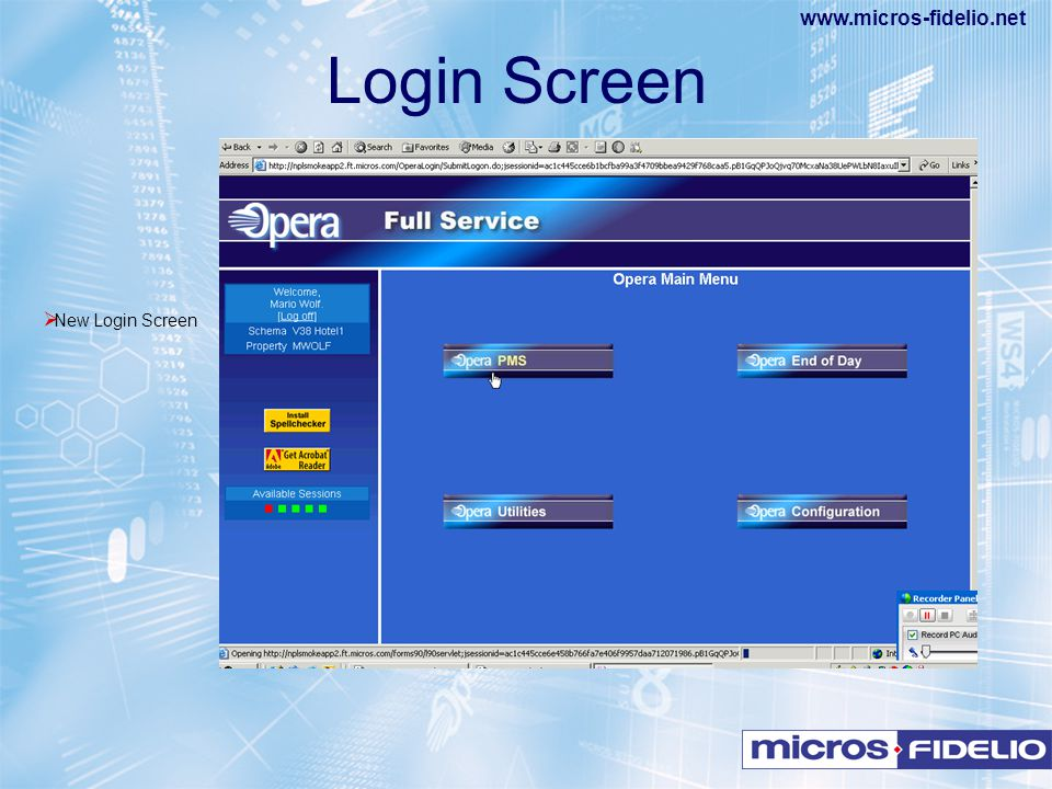 www.micros-fidelio.net  New Login Screen Login Screen