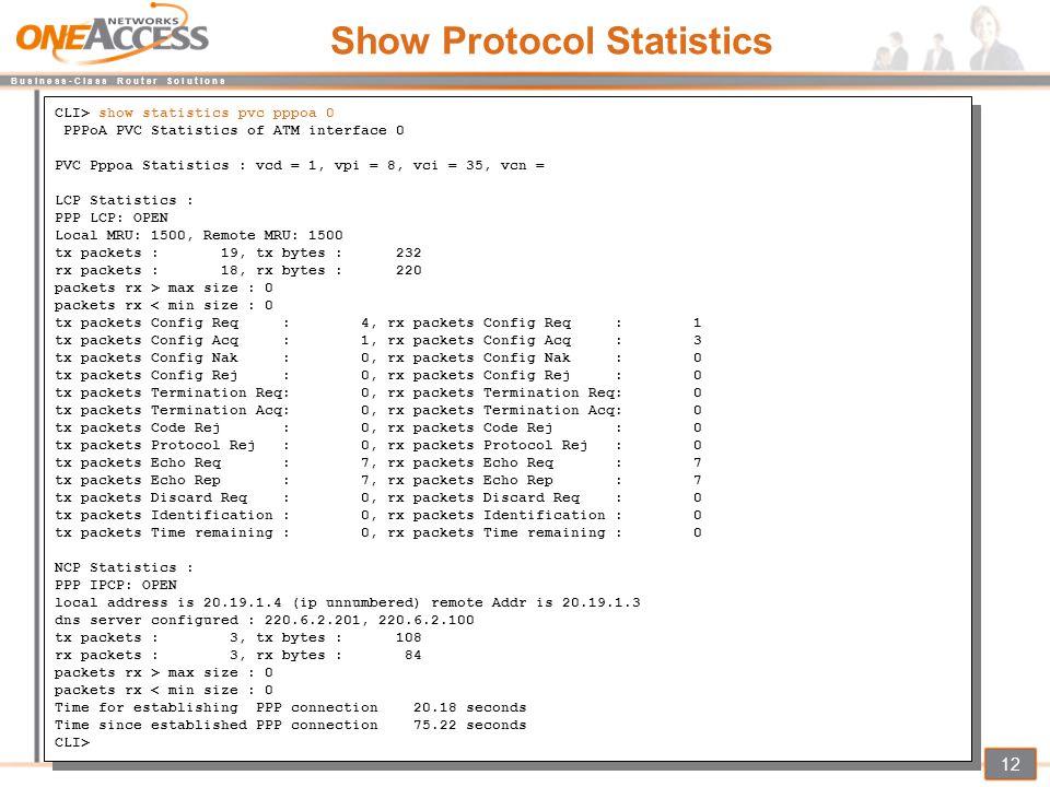 B u s i n e s s - C l a s s R o u t e r S o l u t i o n s 12 Show Protocol Statistics CLI> show statistics pvc pppoa 0 PPPoA PVC Statistics of ATM int