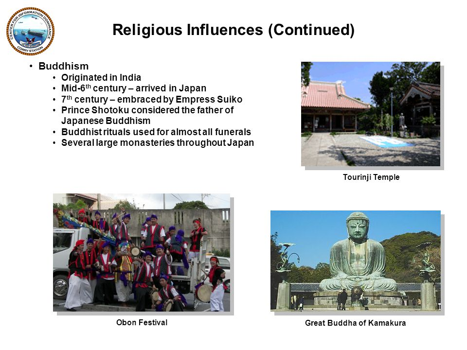 Buddhism Originated in India Mid-6 th century – arrived in Japan 7 th century – embraced by Empress Suiko Prince Shotoku considered the father of Japanese Buddhism Buddhist rituals used for almost all funerals Several large monasteries throughout Japan Religious Influences (Continued) Tourinji Temple Obon Festival Great Buddha of Kamakura