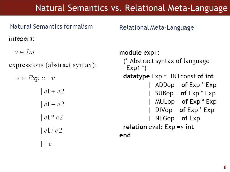 6 Natural Semantics vs. Relational Meta-Language Natural Semantics formalism Relational Meta-Language module exp1: (* Abstract syntax of language Exp1
