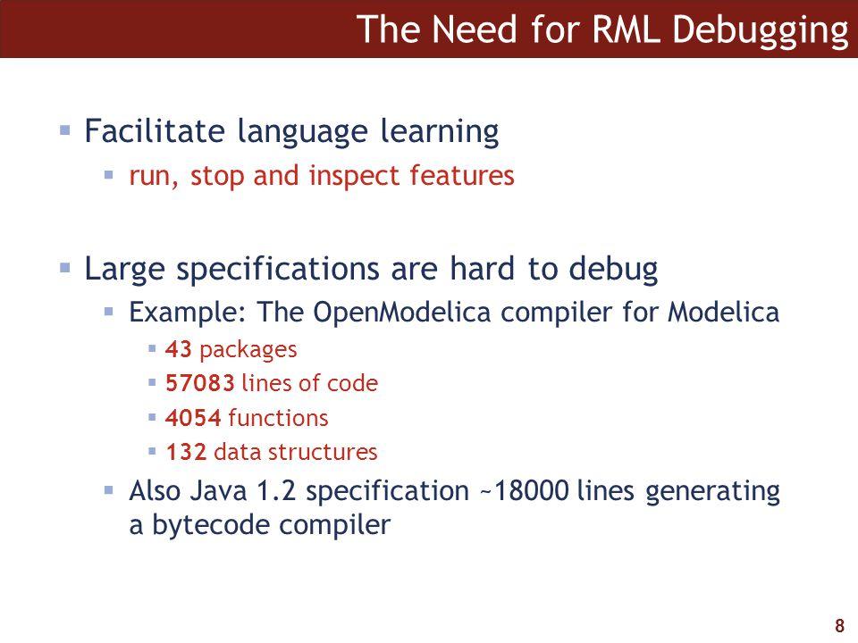 9 The RML Debugging framework module Dump with absyn.rml relation dump: Absyn.Program => ()...