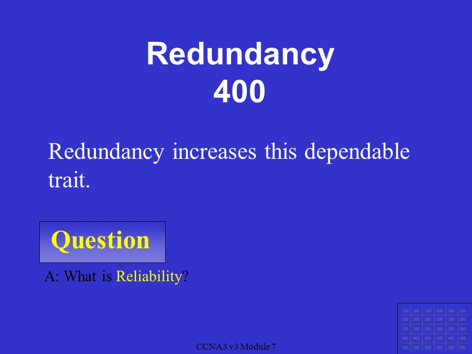 CCNA3 v3 Module 7 Question 100 200 300 400 500 CCNA3 v3 Module 7 A: What is Failure at a single point? Redundancy helps avoid this type of failure. Re