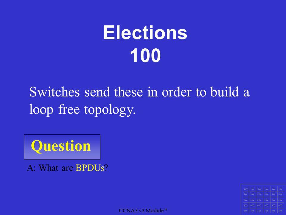 CCNA3 v3 Module 7 Question 100 200 300 400 500 CCNA3 v3 Module 7 A: What is the Root Bridge.