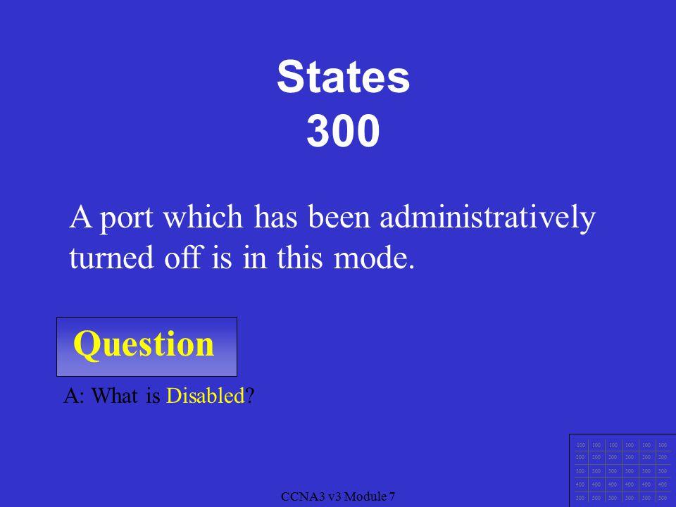 CCNA3 v3 Module 7 Question 100 200 300 400 500 CCNA3 v3 Module 7 A: What is Blocking.