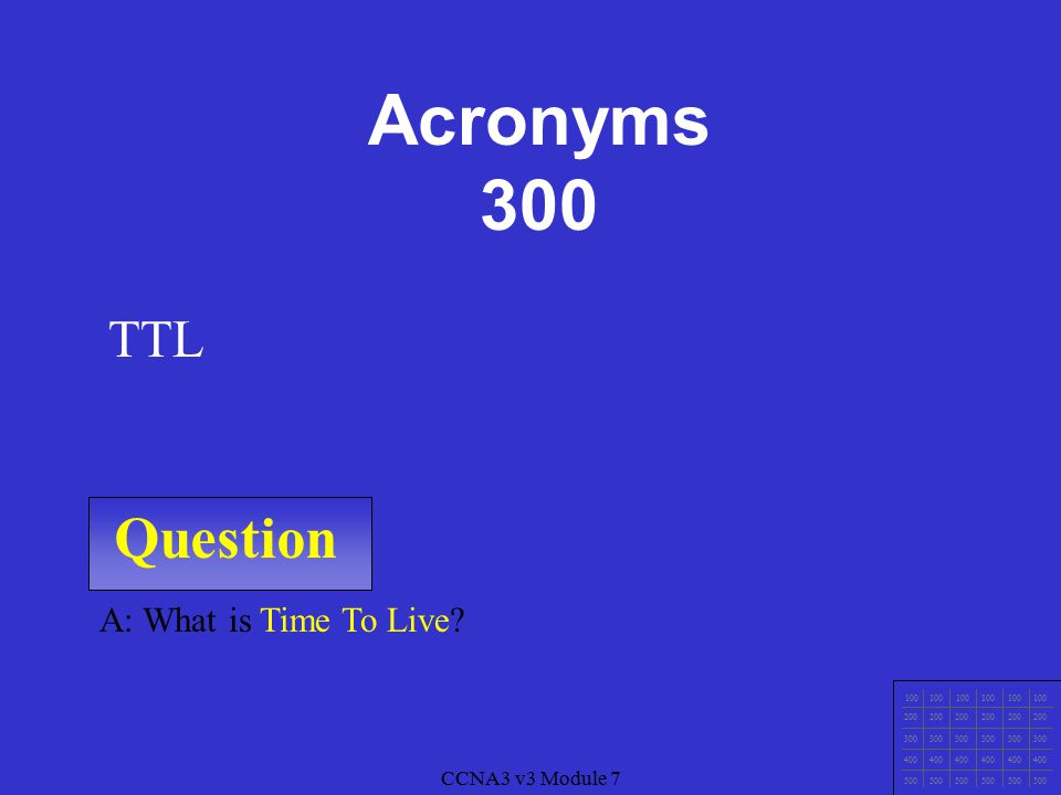 Question A: What is Spanning Tree Protocol? STP CCNA3 v3 Module 7 Acronyms 200 100 200 300 400 500