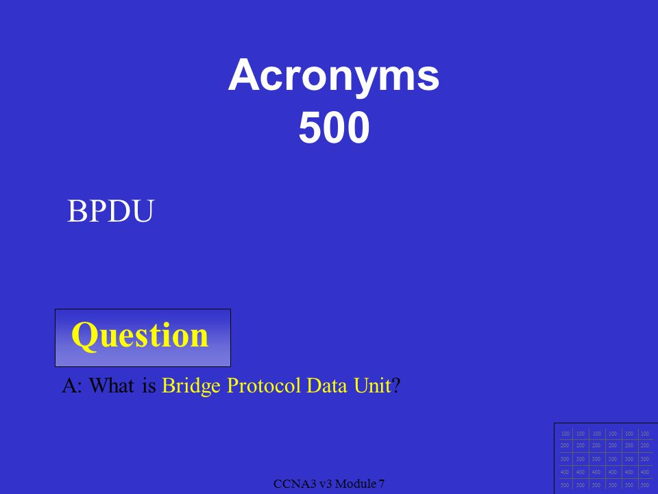 CCNA3 v3 Module 7 Question 100 200 300 400 500 A: What is Bridge ID.