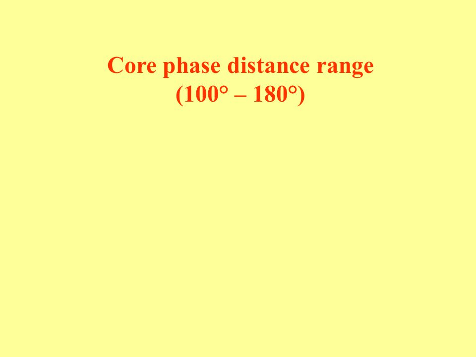 Core phase distance range (100° – 180°)