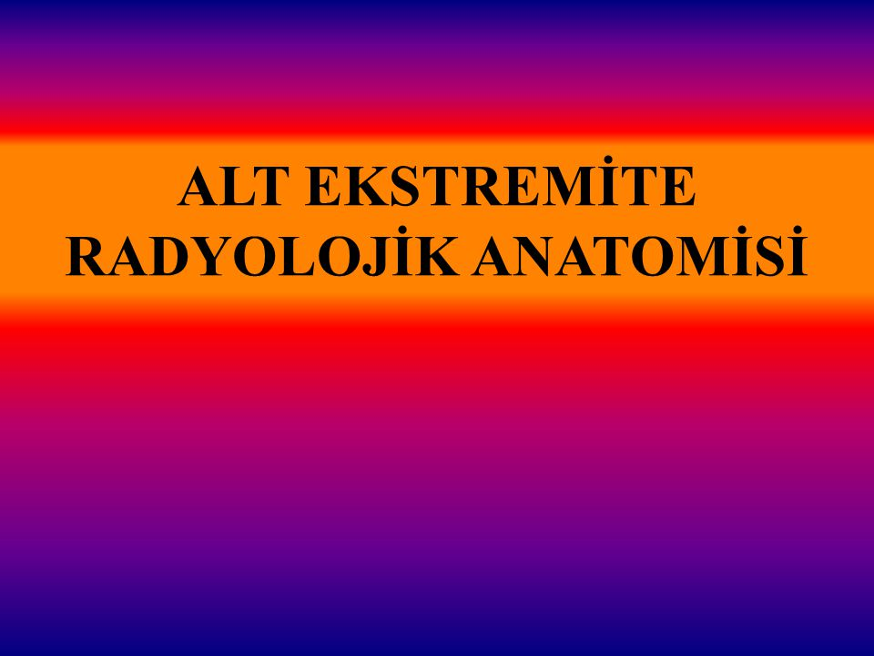 ALT EKSTREMİTE RADYOLOJİK ANATOMİSİ