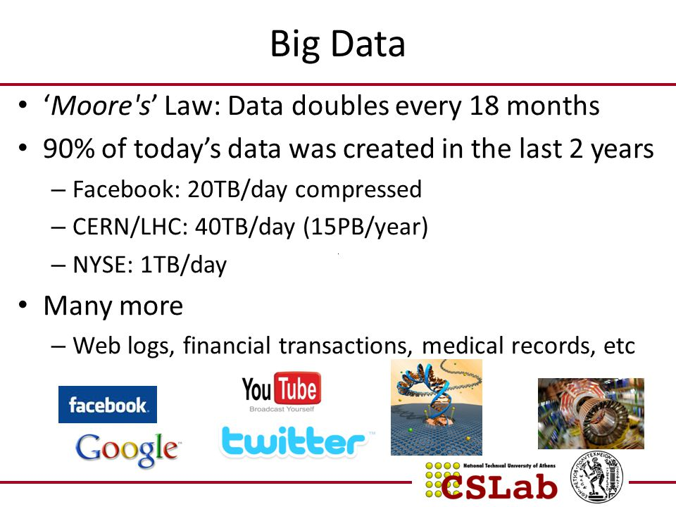 Big Data 'Moore's' Law: Data doubles every 18 months 90% of today's data was created in the last 2 years – Facebook: 20TB/day compressed – CERN/LHC: 4