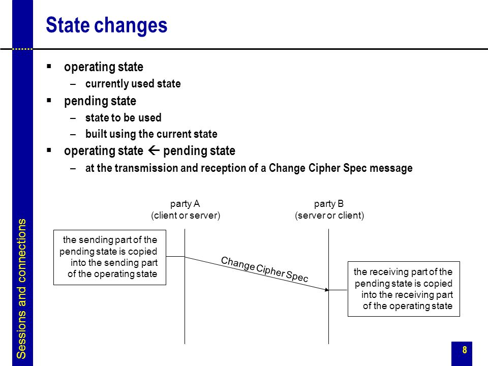 8 State changes  operating state – currently used state  pending state – state to be used – built using the current state  operating state  pendin