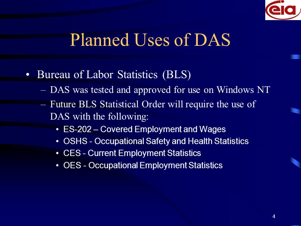 5 Planned Uses Continued… Energy Information Administration –Joint project with US Bureau of the Census working on developing auditing tools for processing of the 2002 Manufacturing Energy Consumption Survey National Science Foundation –Initial contact with NSF's contractor on executing DAS software