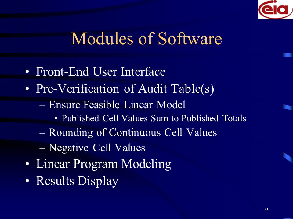 9 Modules of Software Front-End User Interface Pre-Verification of Audit Table(s) –Ensure Feasible Linear Model Published Cell Values Sum to Published Totals –Rounding of Continuous Cell Values –Negative Cell Values Linear Program Modeling Results Display