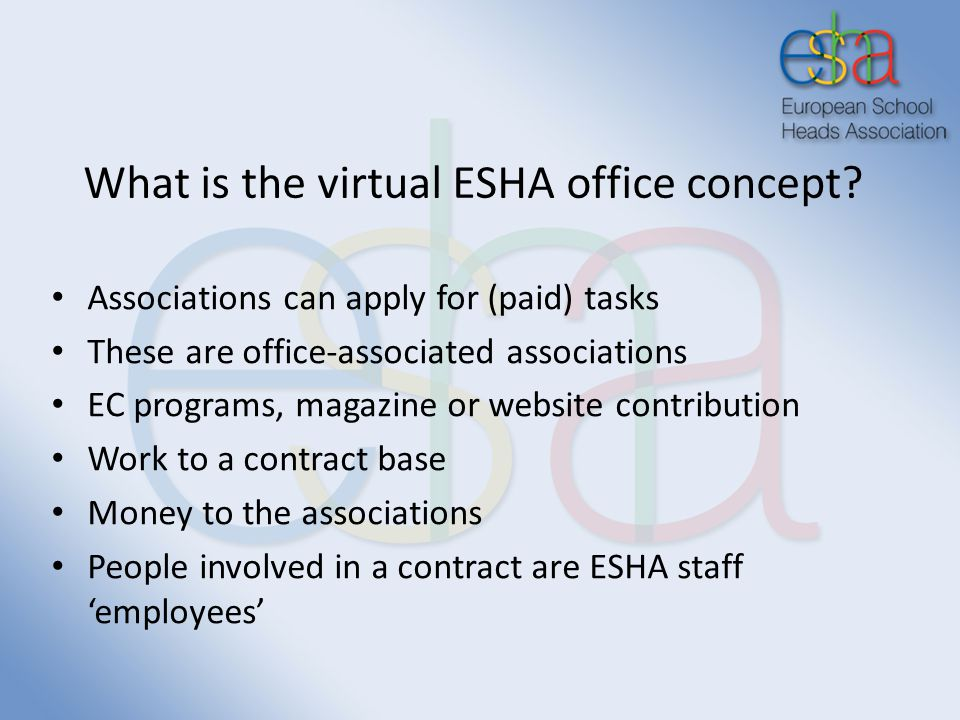 What is the virtual ESHA office concept? Associations can apply for (paid) tasks These are office-associated associations EC programs, magazine or web