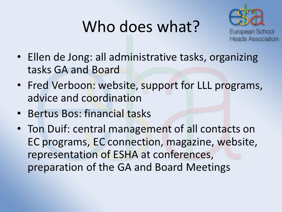 Who does what? Ellen de Jong: all administrative tasks, organizing tasks GA and Board Fred Verboon: website, support for LLL programs, advice and coor