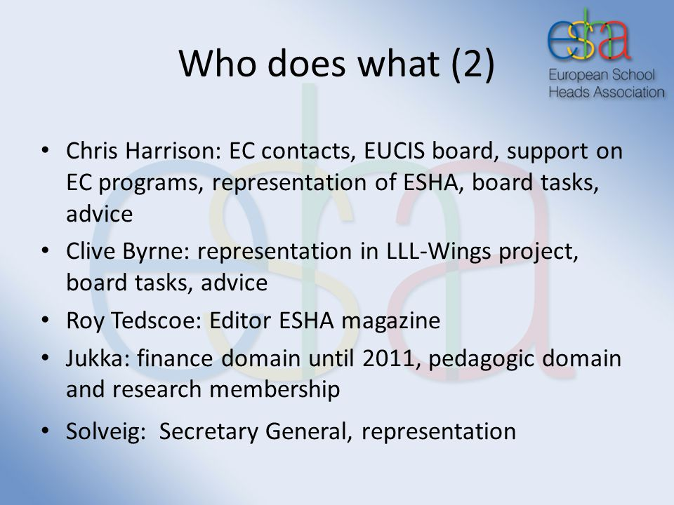 Who does what (2) Chris Harrison: EC contacts, EUCIS board, support on EC programs, representation of ESHA, board tasks, advice Clive Byrne: representation in LLL-Wings project, board tasks, advice Roy Tedscoe: Editor ESHA magazine Jukka: finance domain until 2011, pedagogic domain and research membership Solveig: Secretary General, representation