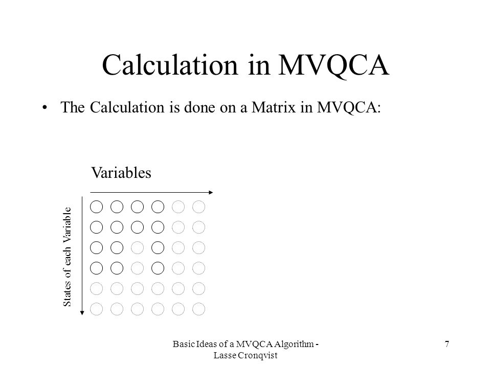 Basic Ideas of a MVQCA Algorithm - Lasse Cronqvist 7 Calculation in MVQCA The Calculation is done on a Matrix in MVQCA: Variables States of each Variable